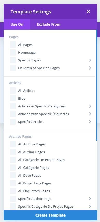 Divi theme builder - Liste des paramètres de modèles