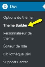 Divi theme builder - Menu WordPress Divi